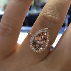 Rose Gold Tear Drop Morganite Ring